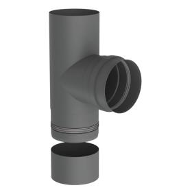 Pelletofenrohr - T-Anschluss 90° mit abnehmbarer Kondensatschale - gussgrau lackiert - Jeremias Pell
