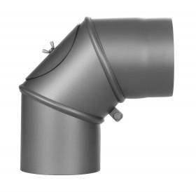 Ofenrohr - Winkel drehbar 0-90° m. Tür gussgrau - Jeremias Ferro-Lux