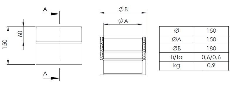 ofenrohr doppelwandig 150 mm schwarz schornstein fachhandel. Black Bedroom Furniture Sets. Home Design Ideas