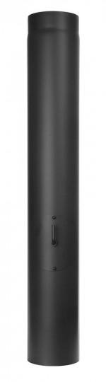 Ofenrohr - Längenelement 1000 mm mit Drosselklappe und Tür schwarz - Jeremias Ferro-Lux