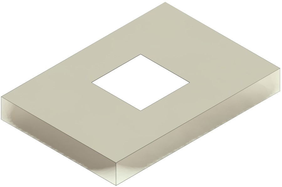 Schornsteinabdeckplatte mit Ausschnitt eckig ohne Stutzen