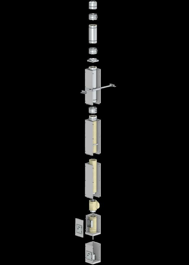 Leichtbauschornstein F90-Bausatz Wohnzimmervariante mit Innenrohrdurchmesser 130 mm