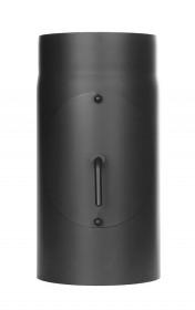 Ofenrohr - Längenelement 300 mm mit Drosselklappe und Tür schwarz - Jeremias Ferro-Lux