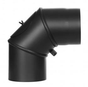 Ofenrohr - Winkel drehbar 0-90° mit Tür schwarz - Jeremias Ferro-Lux