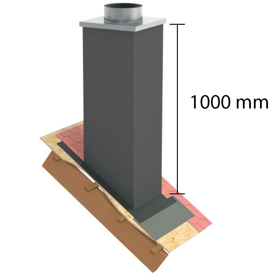 """Kaminverkleidung Stülpkopf Furado L=1000 mm """"Lackiert"""" - Jeremias Furado F - Maße"""