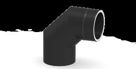 Ofenrohr - doppelwandig - Winkel 90° ohne Tür gussgrau - Jeremias Iso-Line