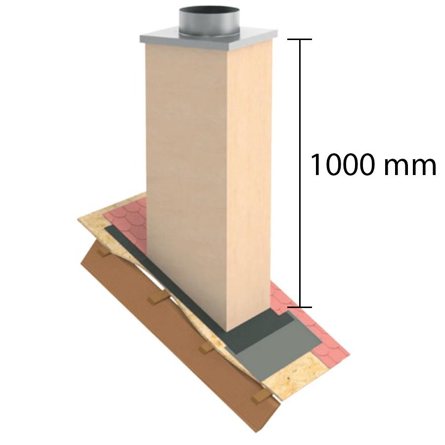 """Kaminverkleidung Stülpkopf Furado L=1000 mm """"Putzoptik"""" - Jeremias Furado A - Maße"""