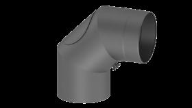 Ofenrohr - doppelwandig - Winkel 90° mit Tür gussgrau - Jeremias Iso-Line