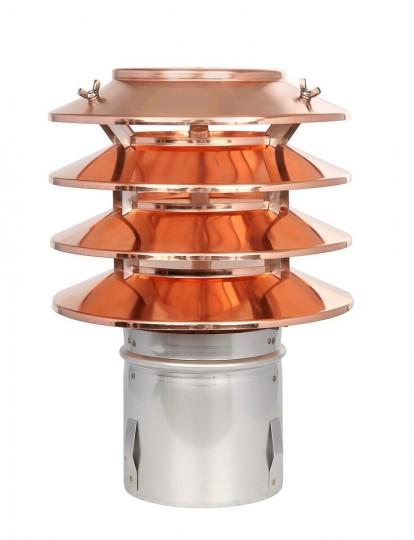 Lamellenaufsatz HUBO - 4 Lamellen und Einschubstutzen, Kupfer