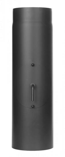Ofenrohr - Längenelement 500 mm mit Drosselklappe und Tür schwarz - Jeremias Ferro-Lux