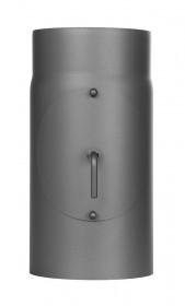 Ofenrohr - Längenelement 300 mm mit Drosselklappe und Tür gussgrau - Jeremias Ferro-Lux