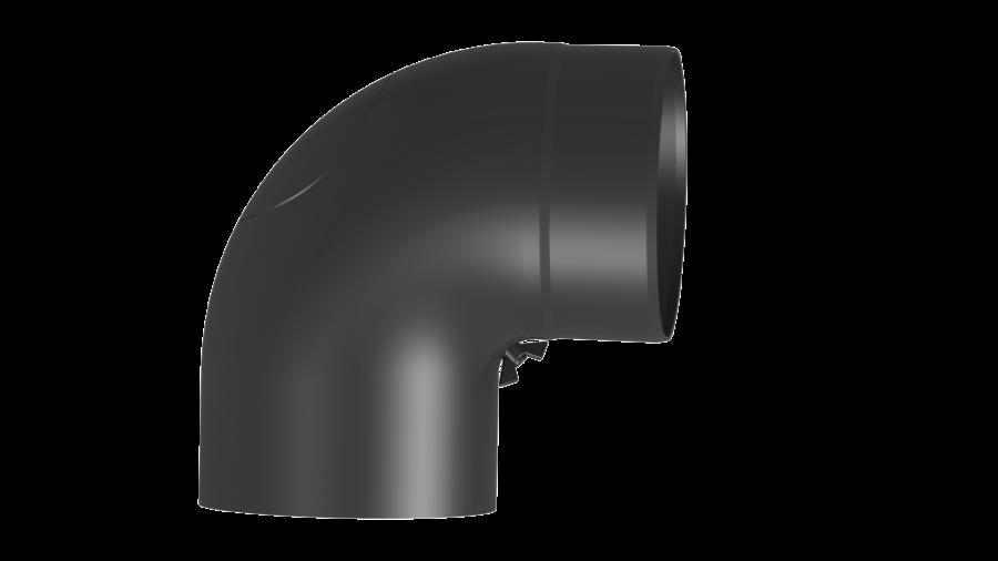 Ofenrohr - Vollformbogen 90° mit Tür - Durchmesser: 150 mm schwarz - Jeremias Ferro-Lux