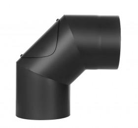 Ofenrohr - doppelwandig - Winkel 90° mit Tür schwarz - Jeremias Iso-Line