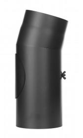 Ofenrohr - Winkel 15° mit Tür schwarz - Jeremias Ferro-Lux