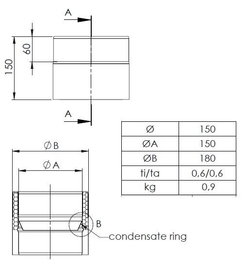 ofenrohr doppelwandig 150 mm kondensatring schornstein fachhandel. Black Bedroom Furniture Sets. Home Design Ideas