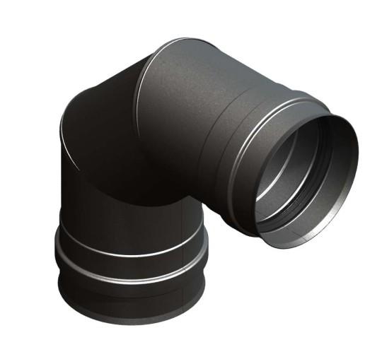 Winkel 90° starr mit Doppelmuffe schwarz