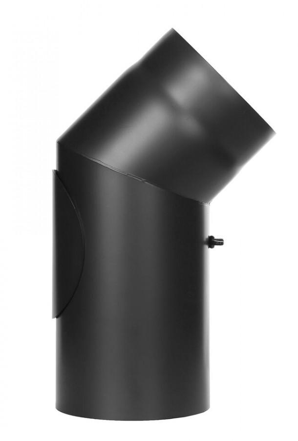 Ofenrohr FERRO1409 - Winkel 45° schwarz mit Tür