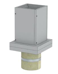 Fußelement auf Betondecke mit Kugelfang und Wandfutter kürzbar für Schachtmaße DW-ECO über Dach