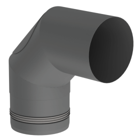 Pelletofenrohr - Winkel 90° starr mit Revision gussgrau - Jeremias Pellet-Line