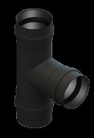 T-Anschluss 90° mit abnehmbarer Kondensatschale, schwarz lackiert